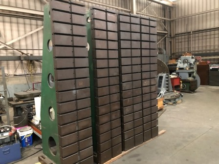 19 w x 98 h Angle Plates, Heavy Duty, Matched Pair, (16) T Slots, 35 deep, Exc.